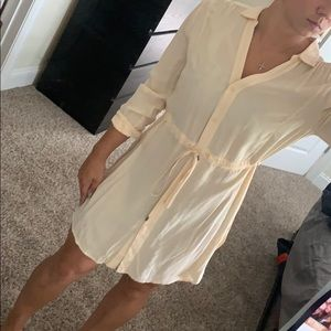 Anthropology cotton dress never worn cream peachy
